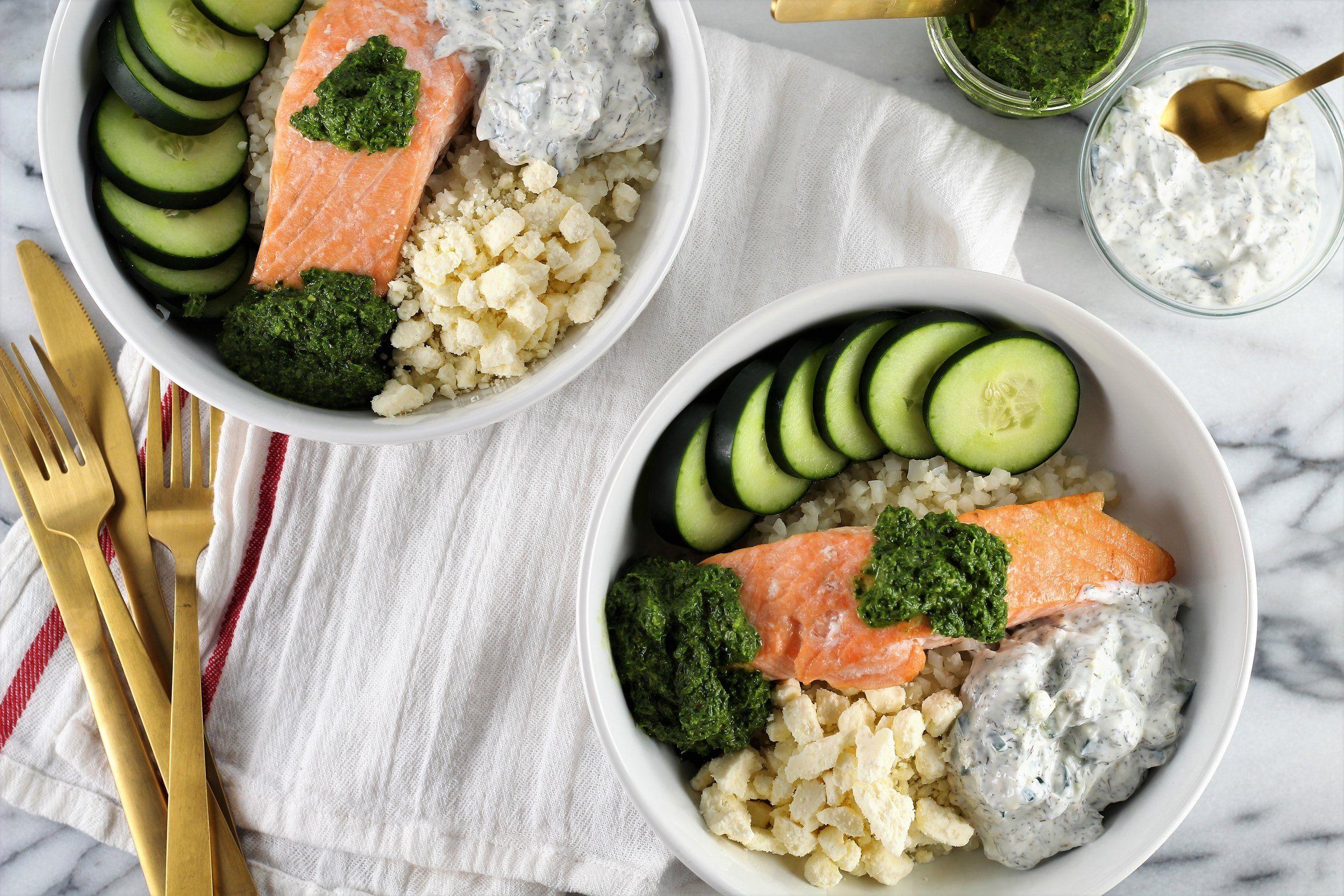 Mediterranean Cauliflower Rice Bowls With Norwegian Salmon