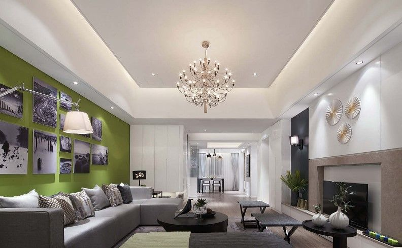 False Ceiling Living Room With Tv Unit