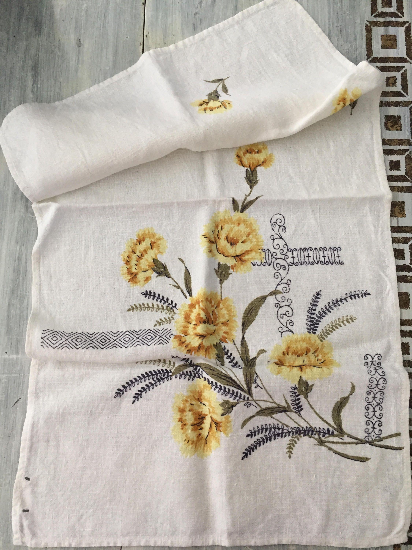 Vintage Kitchen Linen Towel, Yellow Floral Dish Cloth, Natural Linen ...