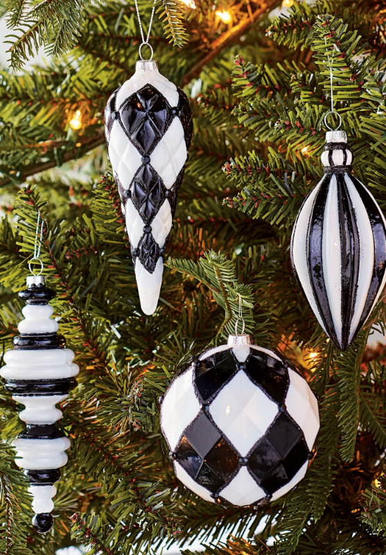 Black And White Glass Ornaments Set Of Four Grandin Road White Christmas Ornaments Christmas Ornaments White Christmas Decor