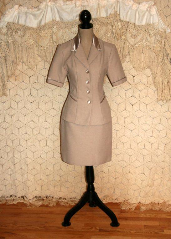 Vintage Women Suits Short Sleeve 90s Skirt Suit Beige Suit Spring