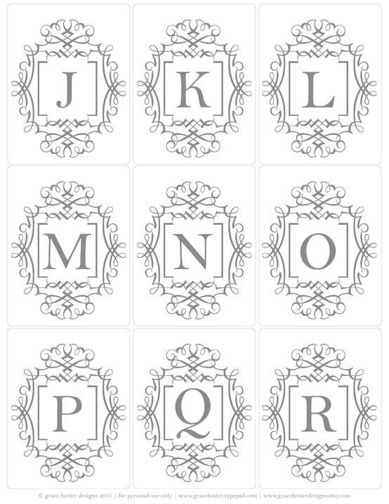Free Printable Monogram Uppercase Letter Tags   J To R
