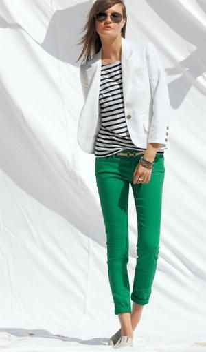 bright green skinnies, white blazer, striped shirt.  Great St. Patrick's Day outfit!