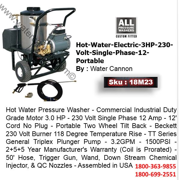 Hot Water Electric 3hp 230 Volt Single Phase 12 Portable By Water Cannon 18m23 Hot Water Water Cannon Pressure Washer
