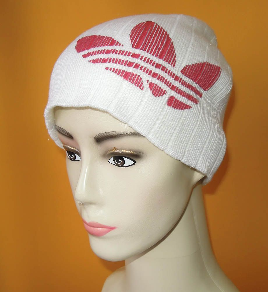 f8c9c3c3000996 Adidas Beanie Ski Hat Vintage 90s Signature Red Trefoil Solid White Acrylic  Snow Cap (6/5) by InPersona on Etsy