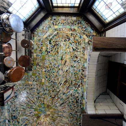 Mosaic tile on the ceiling of kitchen in a 16-room Colonial Revival mansion designed by architect Marius Rousseau. Pittsburgh, PA