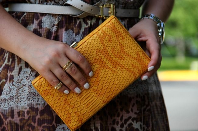 Yellow Faux Snake-Skin Clutch from TJ Maxx