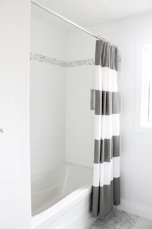 am dolce vita main bathroom reveal west elm stripe shower curtain in feather gray stacked white subway tiles