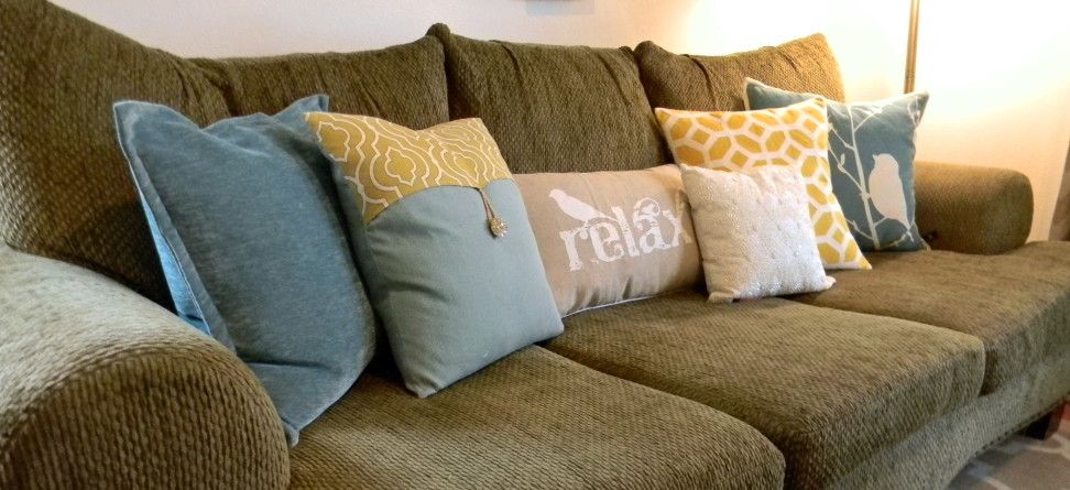 Toss Pillows For Couch Part - 48: Sofa Throw Pillows With Yellow Pillow Throw Pillows Color Block ... | For  The Home | Pinterest | Pillow Arrangement, Pillows And White Couches