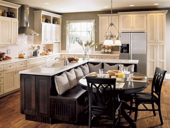 Kitchen. Modern Kitchen Island Decoration Alongside Ivory Wall Paint With Wall-mounted Wooden Cabinet And Counter Top Ivory Top Table Wooden Cabinet Base Plus Rectangular Wooden Dining Table With Stool Circle Seat Wooden Leg.