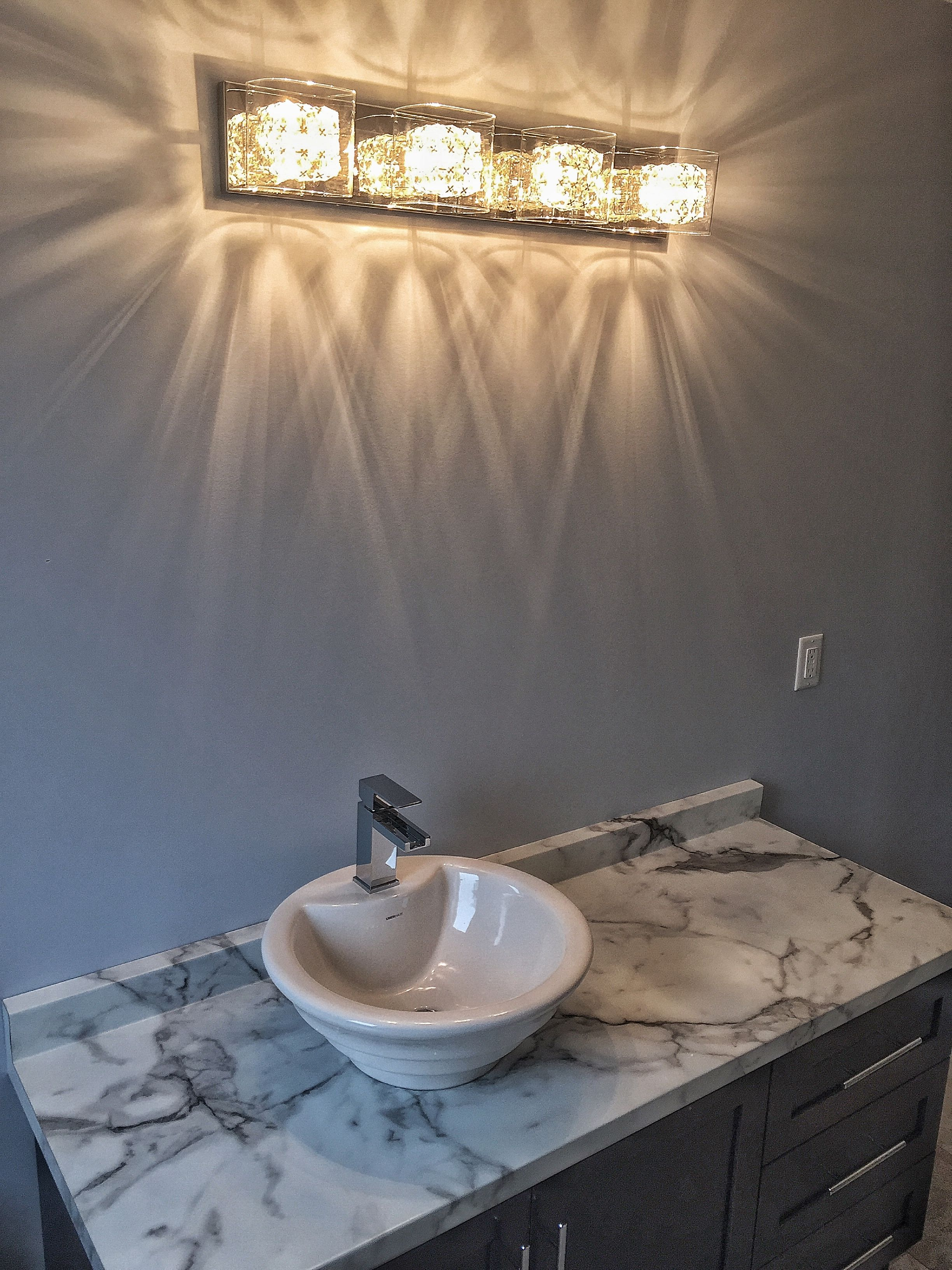 Lovely new vessel sink in this main bathroom! And love the ...