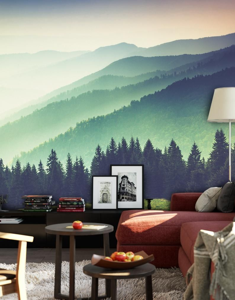 Colorful Foggy Mountain Misty Forest Peel And Stick Wallpaper Etsy Forest Wall Mural Wall Murals Meditation Room