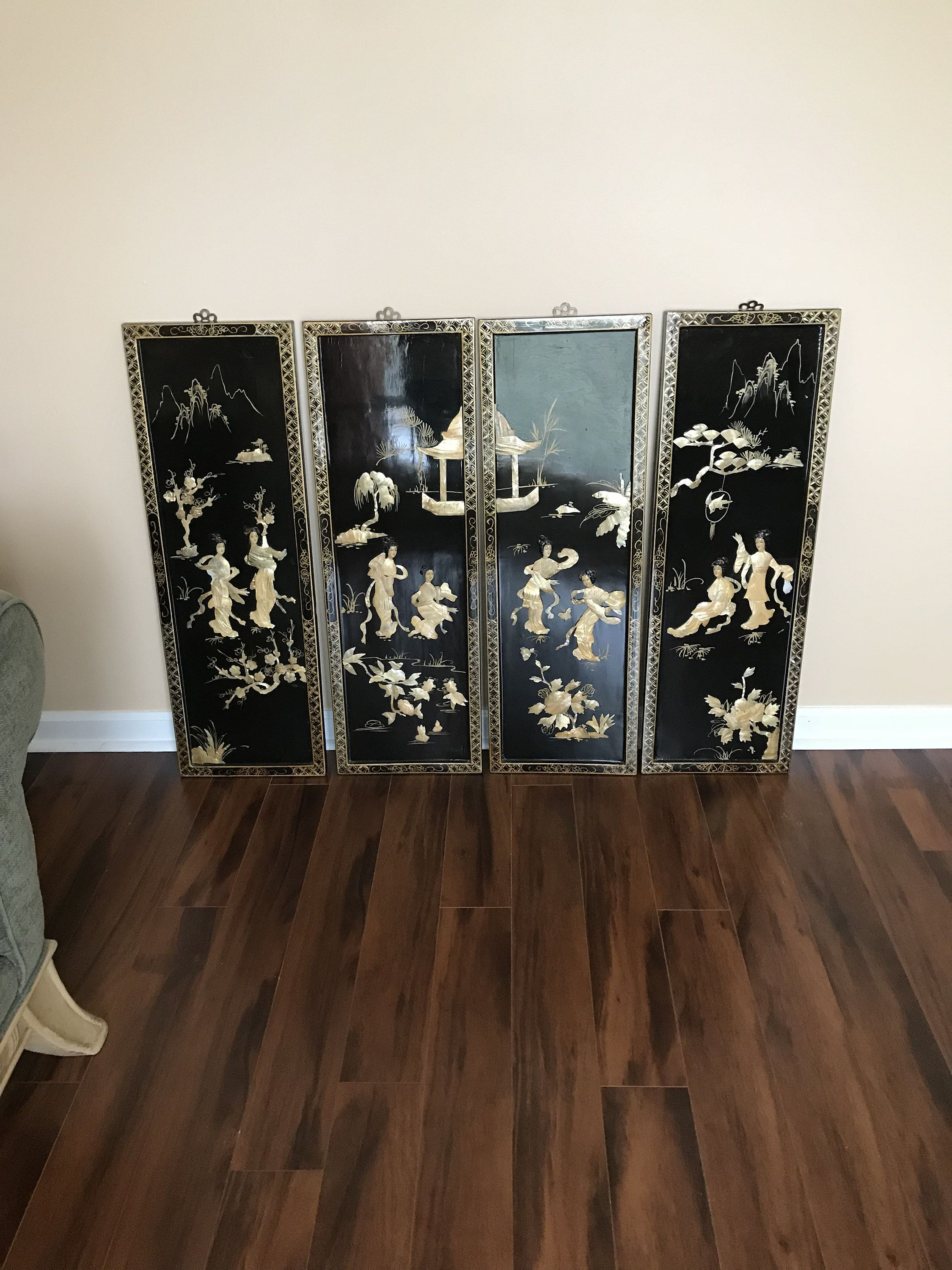 4 Magnificent Asian Black Lacquer And Mother Of Pearl Wall Panels Geisha Paa Garden Scene By Mulherinlane On Etsy
