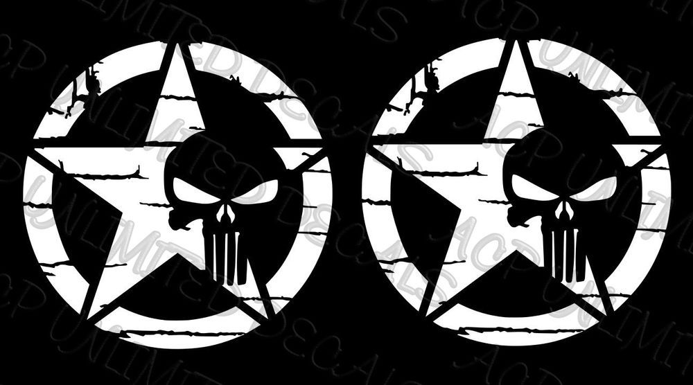 Distressed Star PUNISHER Decal MULTIPLE COLORS