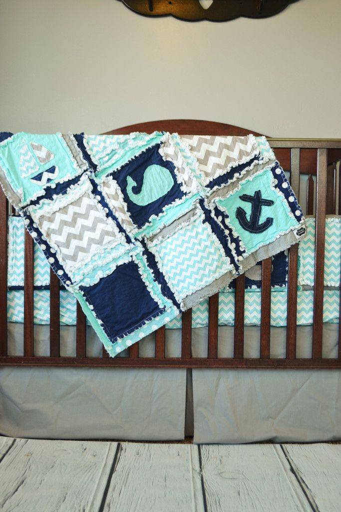 nautical crib bedding - boats, whales & anchors - aqua, navy, and