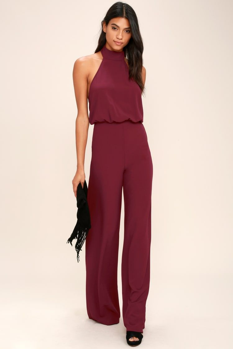 Moment For Life Wine Red Halter Jumpsuit In 2020 Red Halter Jumpsuit Halter Jumpsuit Jumpsuits For Women