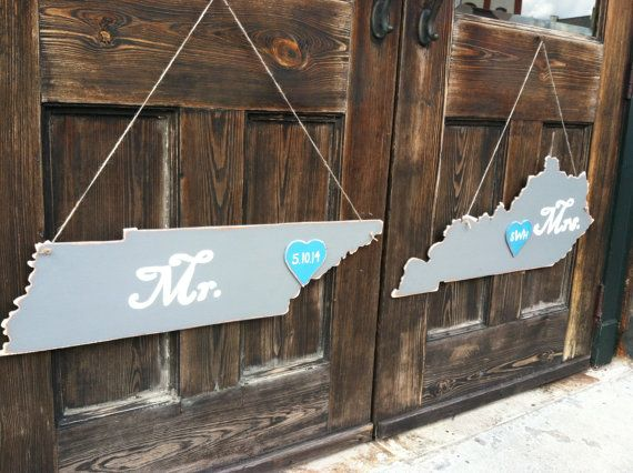Custom Wooden States Wedding Decor Guestbook Mr And