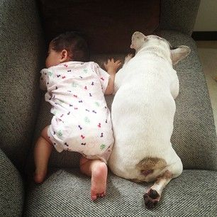 Fact: Matching feets makes for better sleeps. | The 27 Most Adorable Baby And Dog Friendships Of 2013
