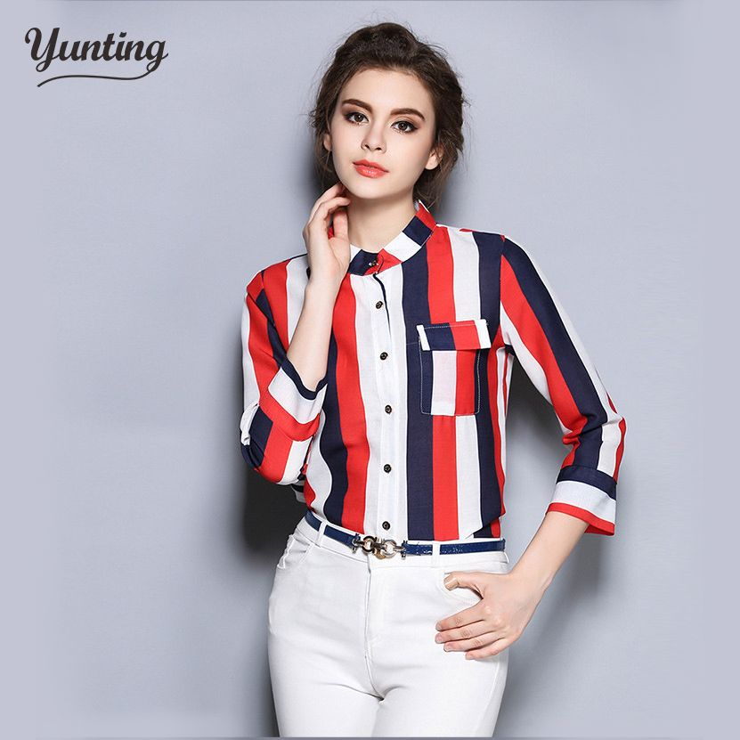 fa6f6cfa6d6 Vertical elegant Striped Blouse Women Slim Fit Long Sleeve Shirt Red white  black Stripes Fashion ladies casual tops blusas -- AliExpress Affiliate s  Pin.