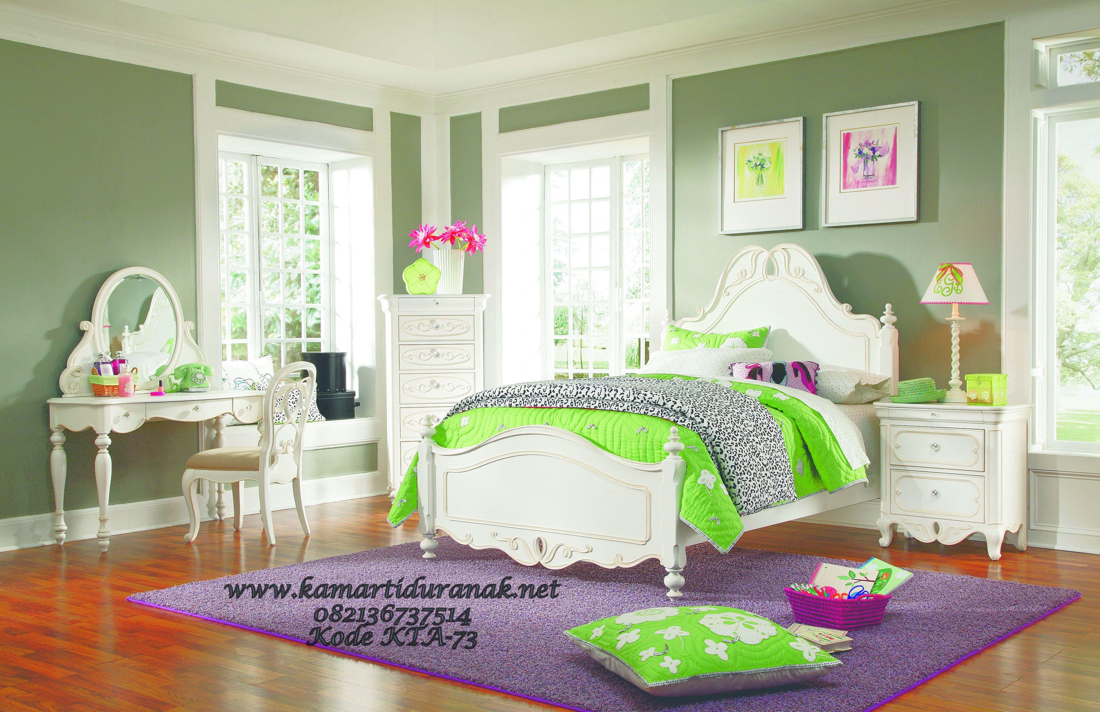 Model Set Kamar Tidur Anak Klasik Mewah Putih Princess Ukir Desain