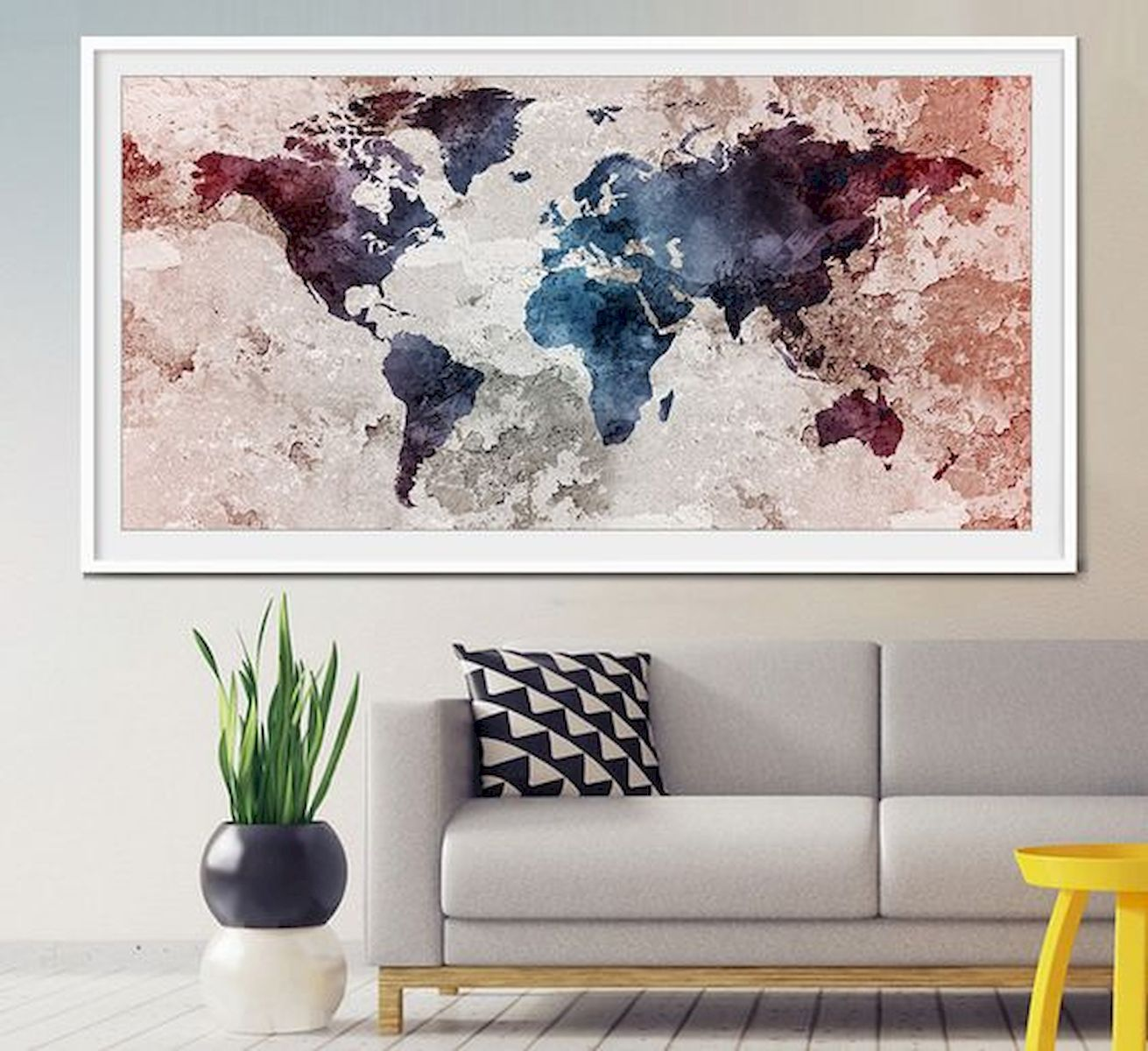 60 Most Elegant Wall Art Ideas For Living Room Makeover Elegant Ideas Living Livingroom Makeover Wallart In 2020 Extra Large Wall Art World Map Art Water Color World Map