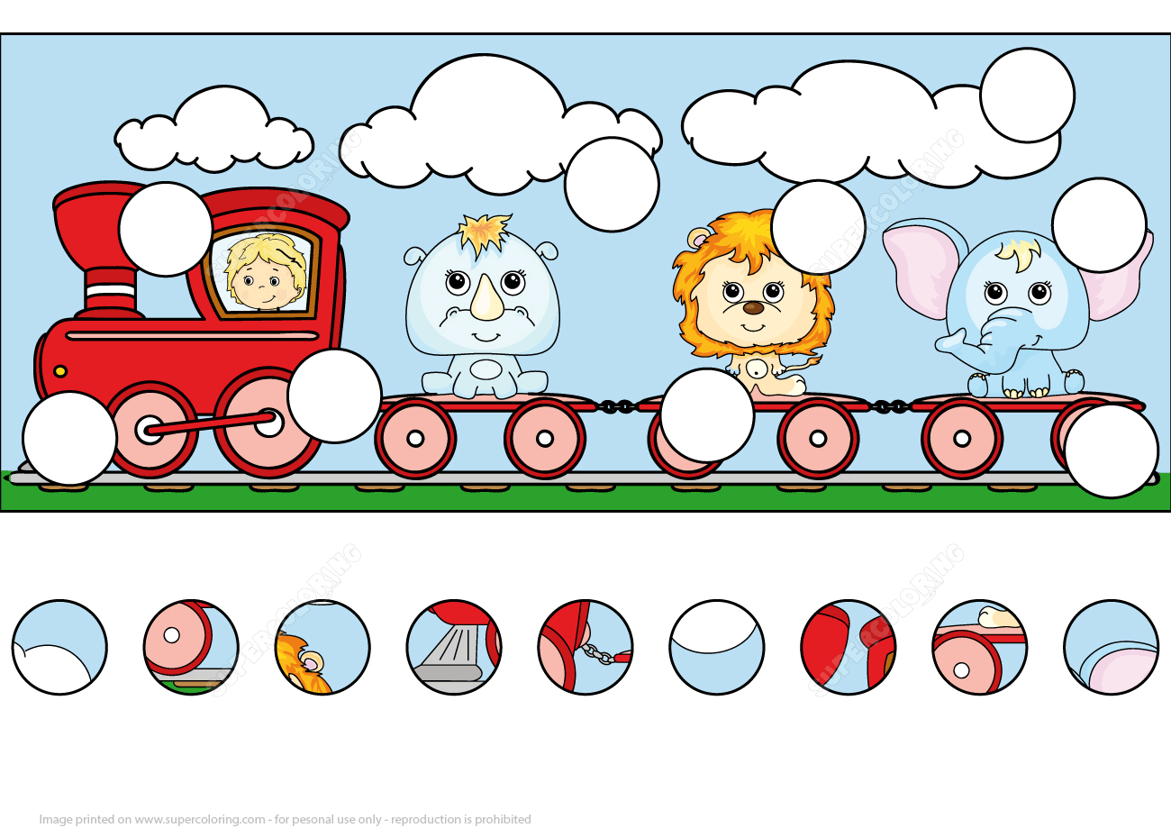 Find The Missing Parts Of The Train With Lion Elephant