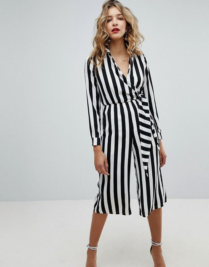 b5ffdc8fb0e8 Missguided Wrap Front Stripe Jumpsuit in 2019 | Products | Striped ...