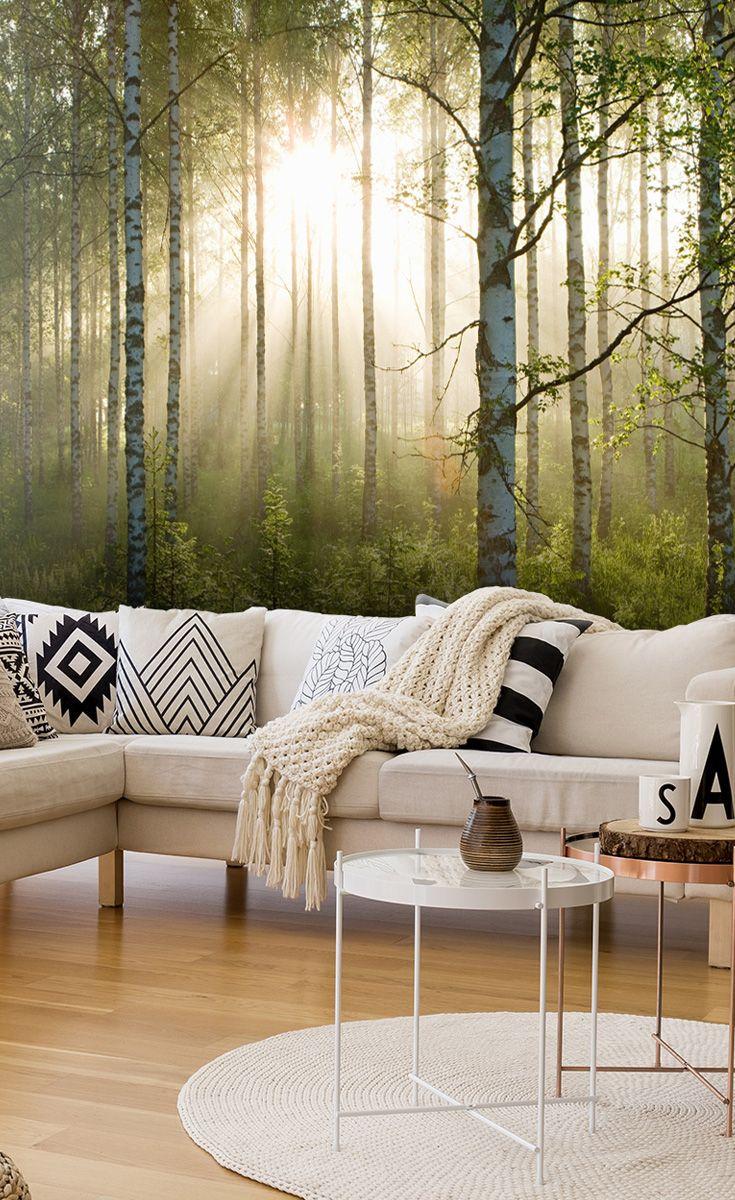 Birch Forest Sunlight Wallpaper Mural Wallsauce Us In 2021 Tree Wallpaper Living Room Beautiful Living Rooms Wallpaper Living Room