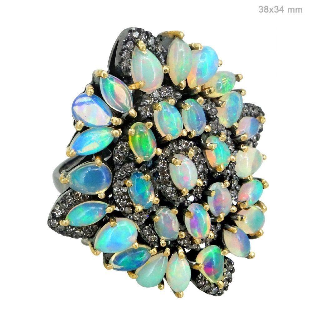14k gold gemstone ethiopion opal pave diamond cocktail ring designer jewelry oy