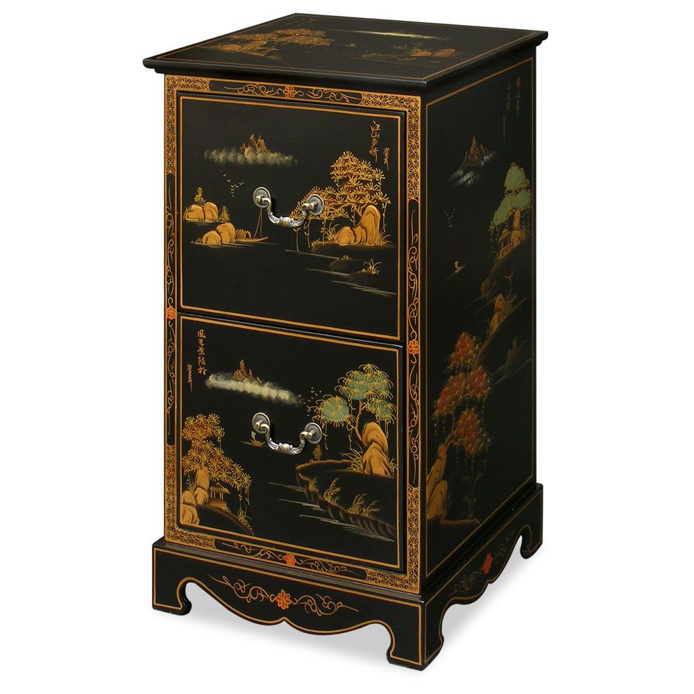 Etonnant Chinoiserie Scenery Design File Cabinet. Serene Chinese Landscape Carved In  Gold Chinoiserie On Rich Matte Black Finish, This Exquisite File Cabinet Is  ...