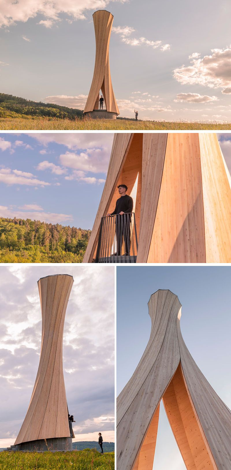 The Urbach Tower is the first wood structure made from self-shaped components, and it serves as a landmark building for the City of Urbach's contribution to the Remstal Gartenschau 2019. #Architecture #Design #Sculpture