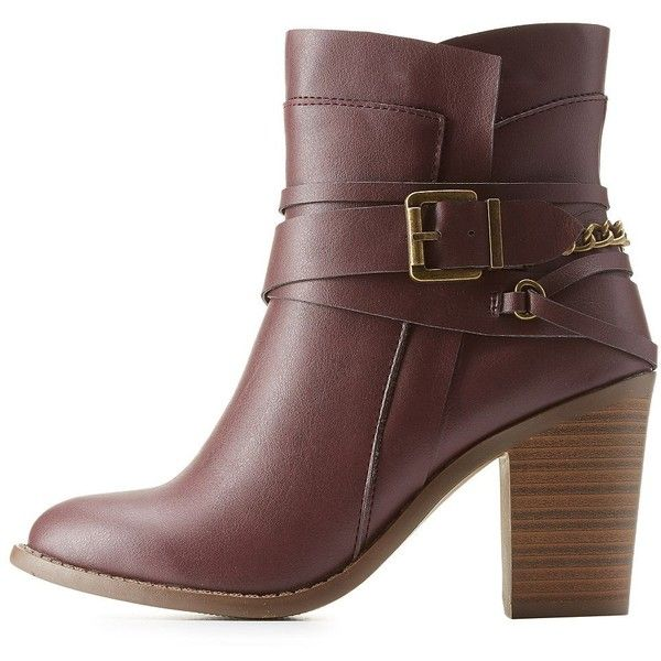 Charlotte Russe   Belted Chunky Heel Booties ($30) ❤ liked on Polyvore featuring shoes, boots, ankle booties, botas, booties, heels, oxblood, short heel boots, chunky heel booties and chunky heel boots