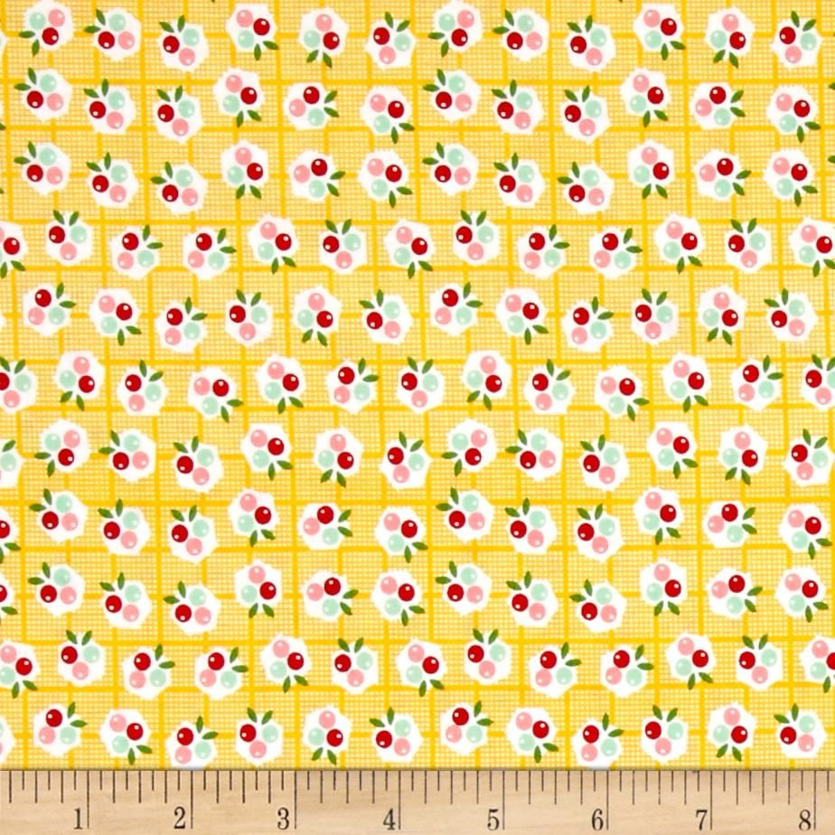 Riley Blake Backyard Roses Berries Yellow from @fabricdotcom  Designed by Nadra Ridgeway for Riley Blake Designs, this shabby chic collection is perfect for quilting, apparel, and home decor accents. Colors include yellow, mint, pink, red, and off-white.