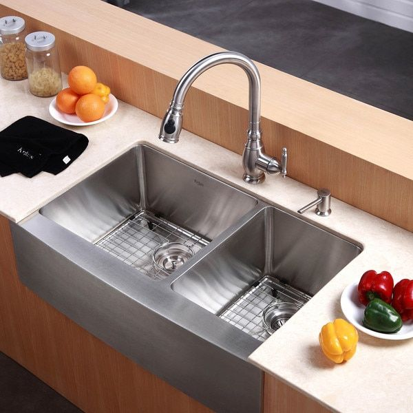 Kraus 33 Inch Farmhouse Double Bowl Stainless Steel Kitchen Sink With Noisedefend Soundproo Stainless Steel Farmhouse Sink Kitchen Decor Modern Kitchen Remodel