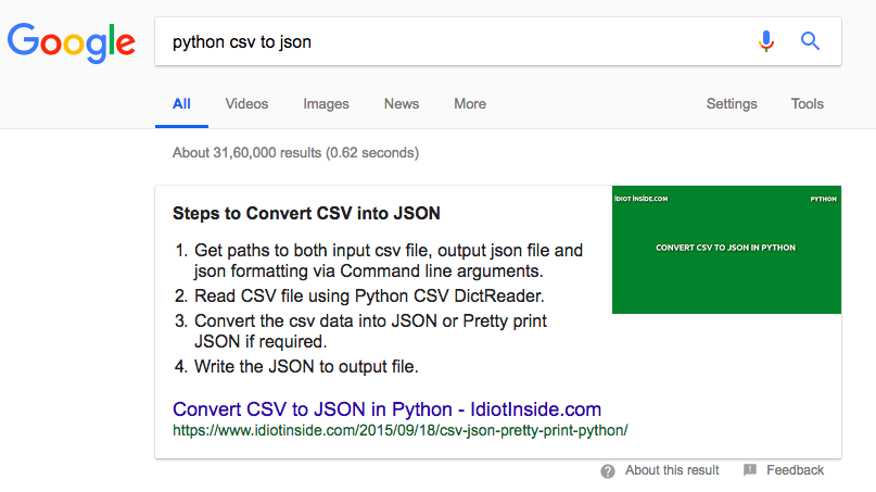 blog post comes as featured snippet on google search | That DSK