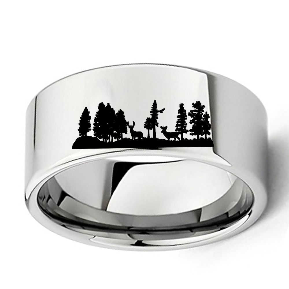 animal landscape scene deers ring engraved flat polish tungsten