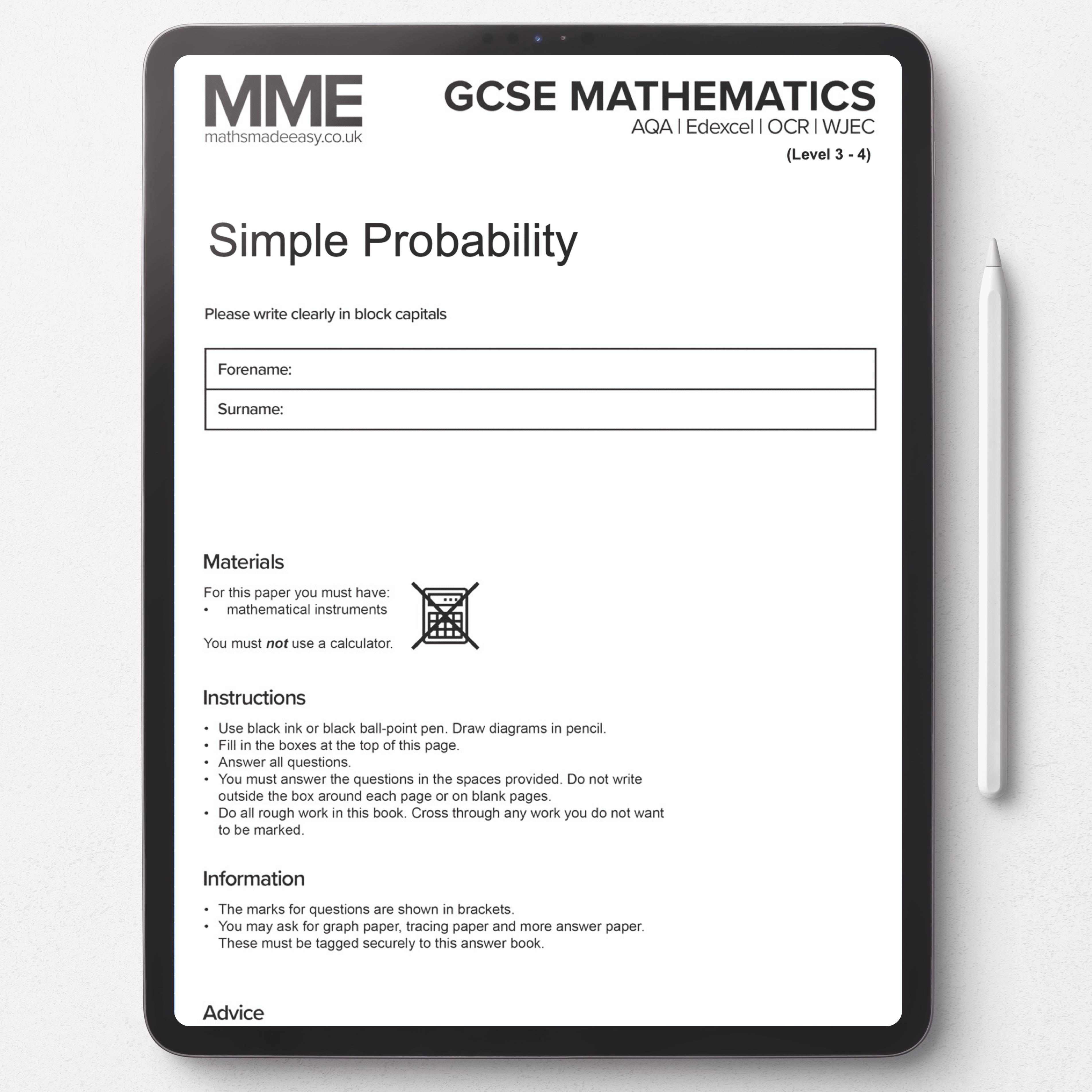 Worksheet 007 Draw Diagram Simple Probability Mathematics [ 3806 x 3806 Pixel ]