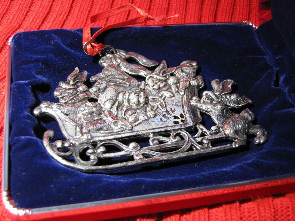 Arthur Court Bunny W Sleigh Ornament Christmas 1994 With Original Box Christmas Ornaments Ornaments Original Box