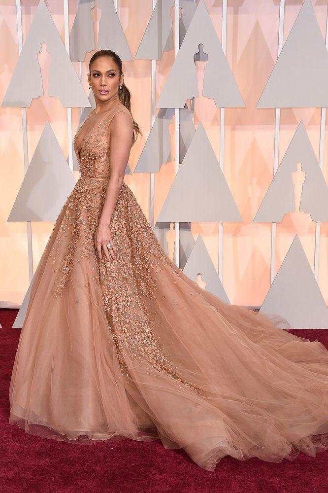 fd78e54c67b2 Jennifer Lopez Is Wearing Elie Saab on the Oscars 2015 Red Carpet in ...