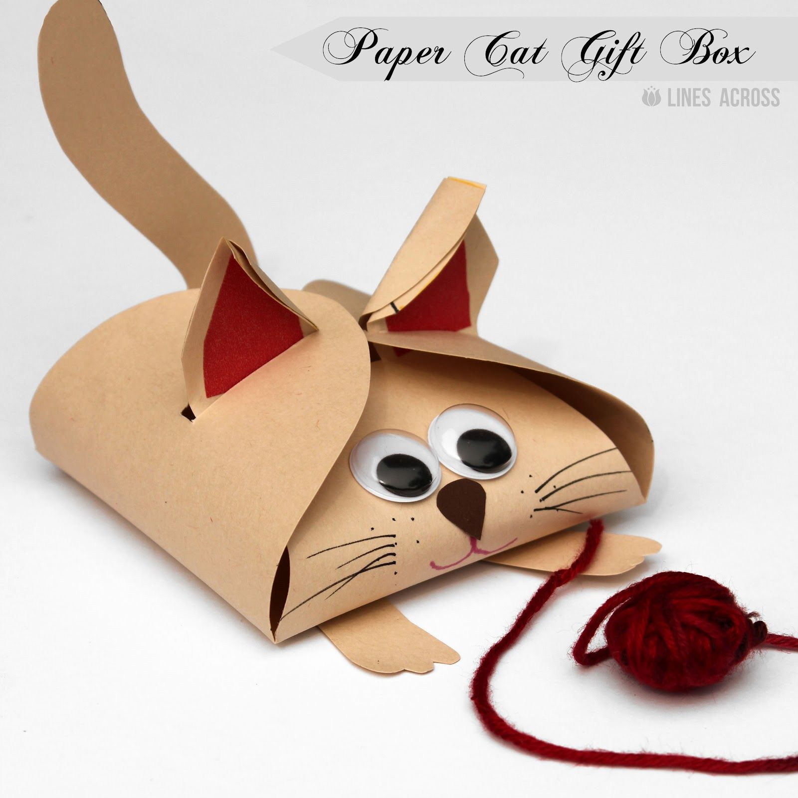 Turn a simple free printable gift box into these fun dog and cat ...