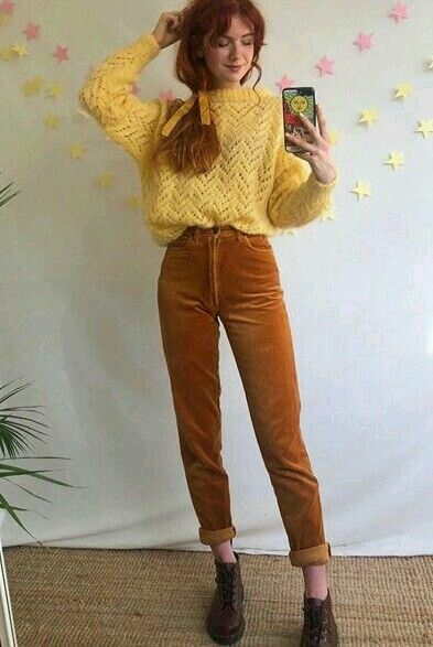Photo of 📌 Try it out: Cord dungarees fawn brown with a yellow shirt