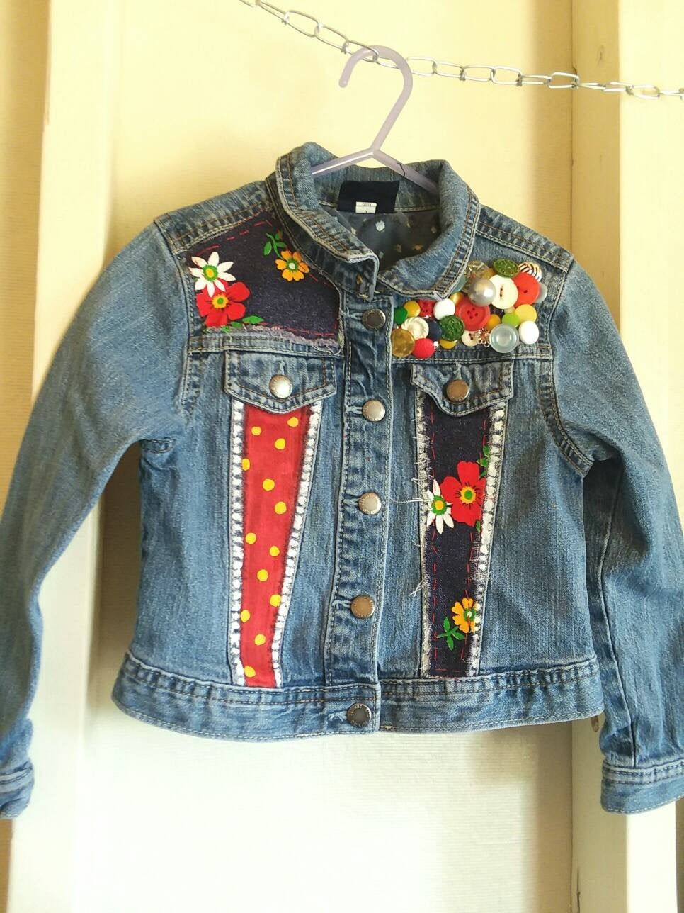 Vintage Hand embroidered Kids Jean Jacket