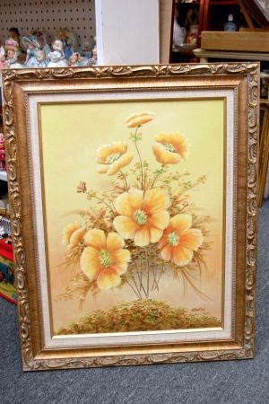 Golden Flowers Painting. at greshamantiques.com