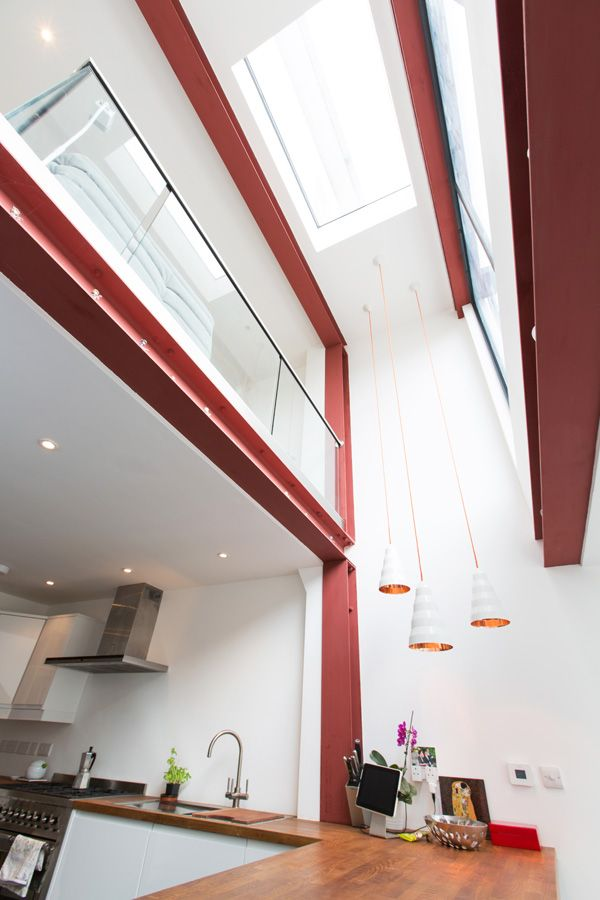 Double height mezzanine with exposed Steels in contemporary Oxford extension by Holland and Green.