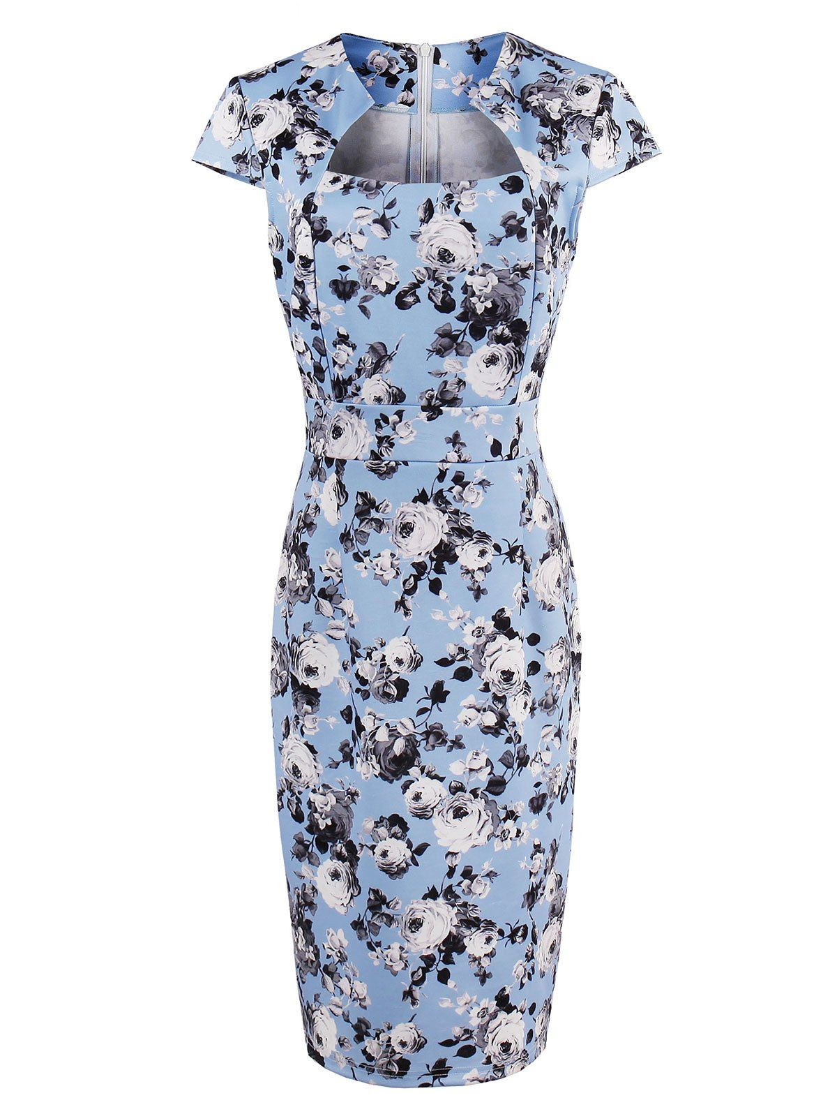High waist roses print bodycon midi dress in light blue sammydress