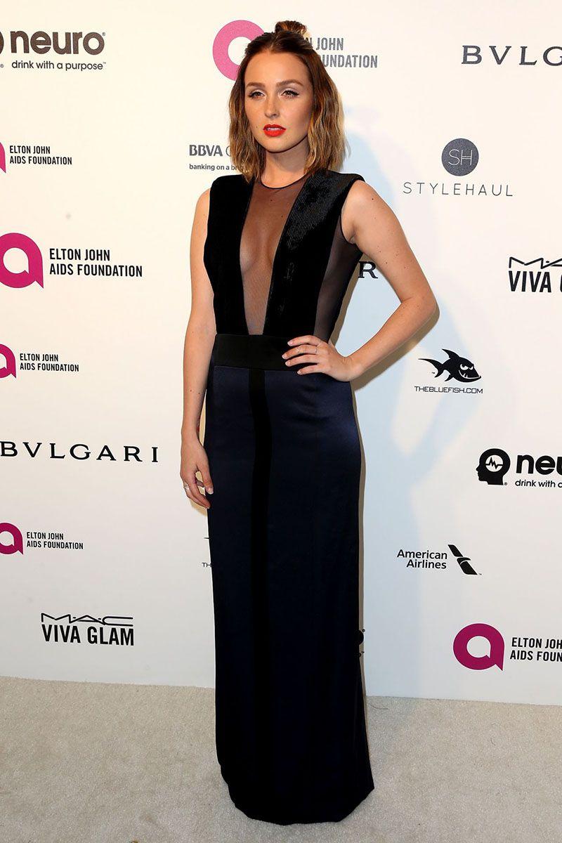 Black dress hollywood - Camilla Luddington Semi Formal Black Satin Dress 2016 Oscar Red Carpet