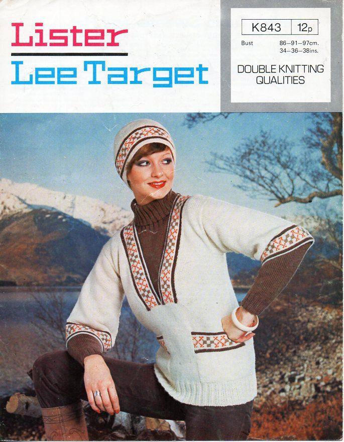 womens fair isle tunic sweater hat knitting pattern PDF ladies ...