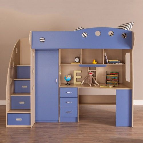 Best Nika Loft Bed Maple Blue In 2020 Loft Bunk Beds Bunk 640 x 480