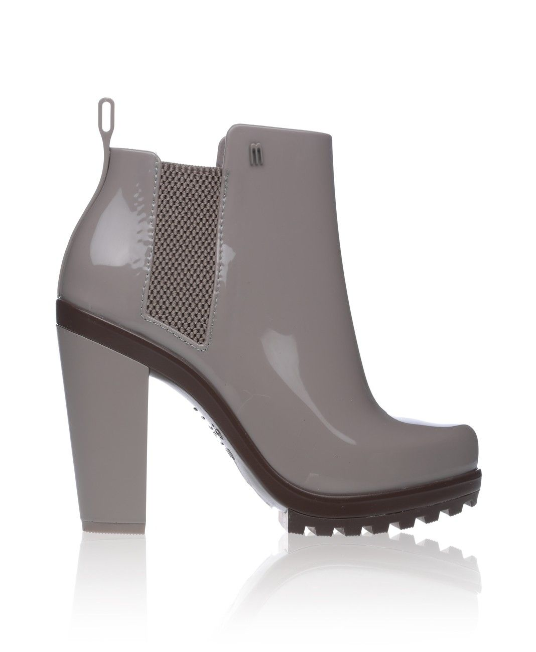 Melissa - Soldier Rubber Chunky Heel Boot - Grey