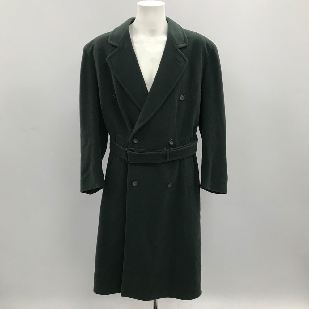 Austin Reed Dark Green Wool Double Breasted Long Coat Formal Size Uk 38 R 39735 Coat Long Coat Green Wool